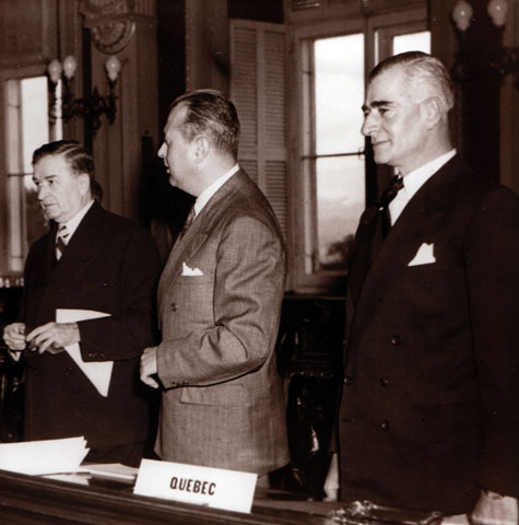 Maurice Duplessis, Paul Sauvé and Antonio Barrette during the federal-provincial conference of Quebec in 1950