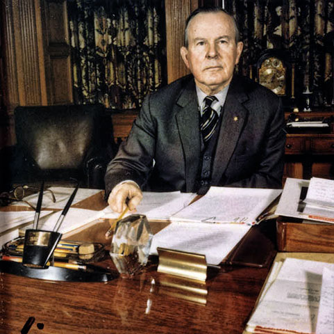 Prime Minister of Canada from 1963 to 1967; Lester B. Pearson seen here seated at his desk