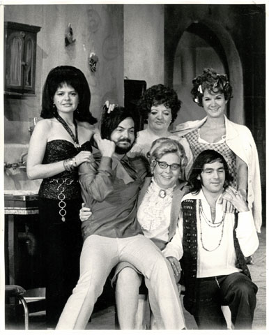 Michel Tremblay and Pierre Brassard in the company of a few actresses of the cast in 1968