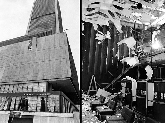 Damage caused by the explosion outdoors and inside the building of the Montréal Stock Exchange