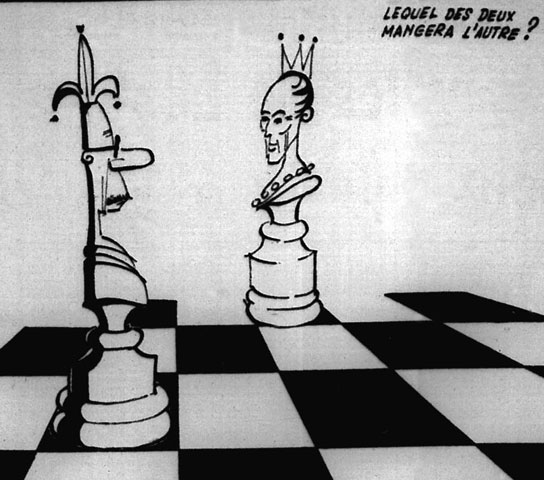 Caricature illustrating the rather strained relations between Daniel Johnson and Pierre Elliott Trudeau