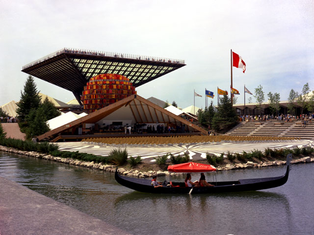 Canada's Katimavik Pavilion resembling an inverted pyramid with the music stand in the foreground during Expo 67