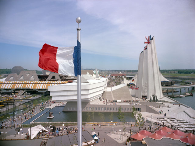 The Great Britain pavilion at the Montréal World Fair in 1967 seen from the French pavilion