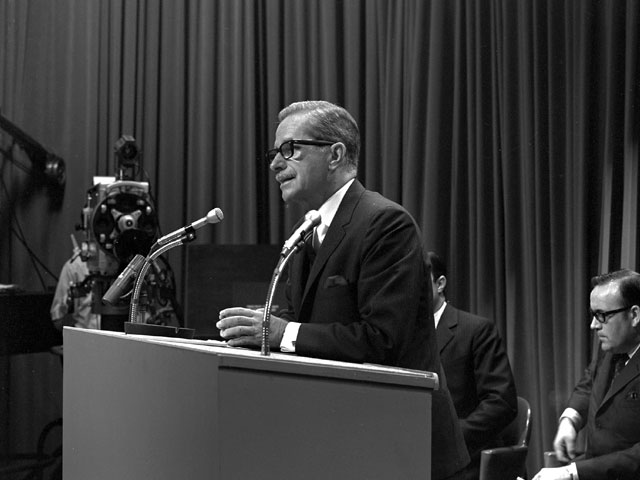 Daniel Johnson during a press conference in 1968