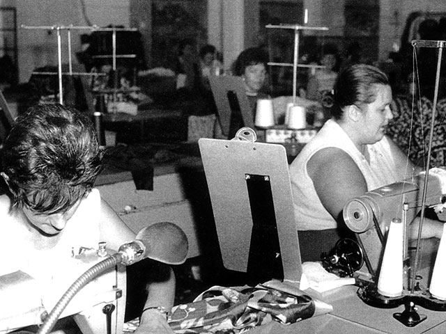 Women working in the textile and clothing industries in the 1960s