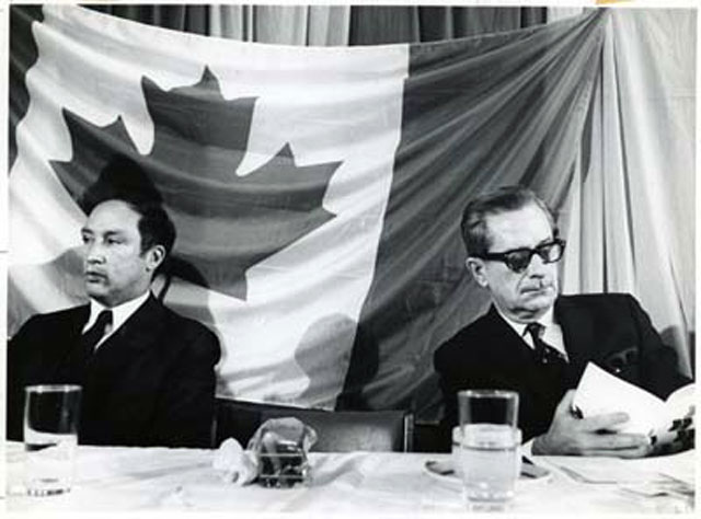 Pierre Elliott Trudeau et Daniel Johnson during the announcement of the Eastern Quebec Development Plan in Rimouski on May 26, 1968